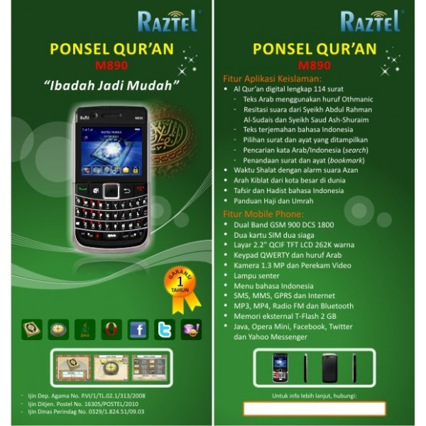 Raztel M890 Ponsel Quran Digital - Handphone Al Quran Digital